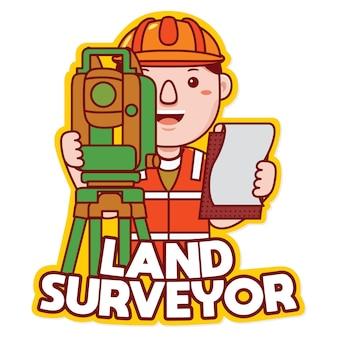 Arpenteur-géomètre, profession, mascotte, logo, vecteur, dans, dessin animé, style