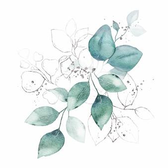 Arrangement aquarelle avec bouquet d'herbes argent feuilles vertes isolé