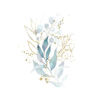 Arrangement aquarelle avec bouquet d'herbes doré aux feuilles vertes