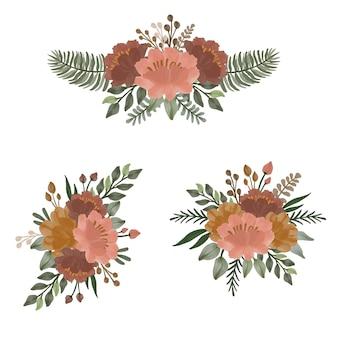 Arrangement d'aquarelle dans un design floral marron et orange