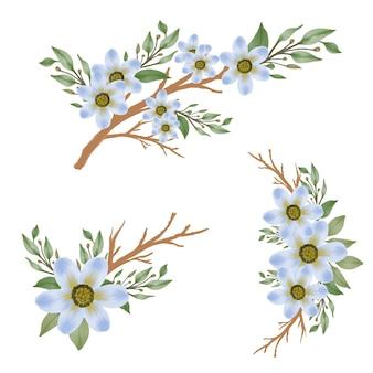 Arrangement aquarelle de fleur bleue avec branche et feuille