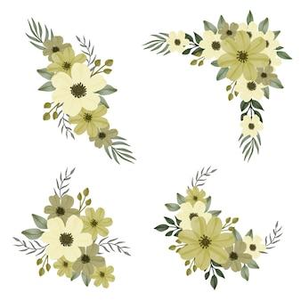 Arrangement aquarelle de fleurs jaunes