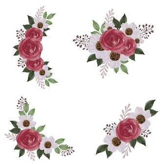 Arrangement aquarelle roses rouges et fleur blanche pour invitation de mariage