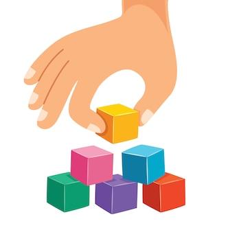 Arrangement de bloc de bois à la main avec l'icône