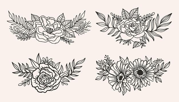 Arrangement de bordure florale élégant.style de ligne d'encre.fleur feuille botanique