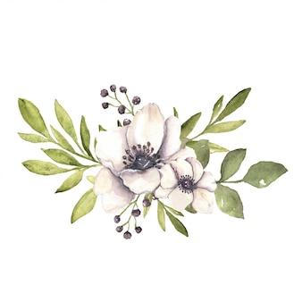 Arrangement botanique floral aquarelle