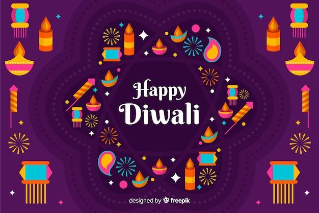 Arrangement de bougies et de lumières fond plat diwali