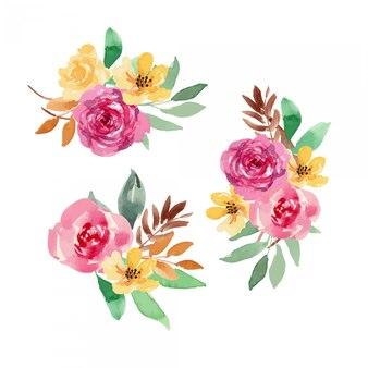 Arrangement ou bouquet floral lâche jaune aquarelle berry