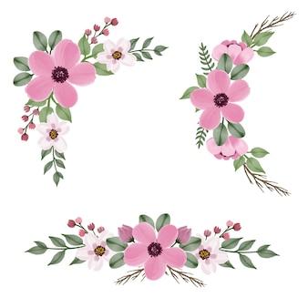 Arrangement de cadre aquarelle floral rose