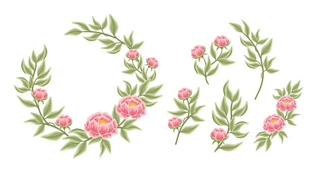 Arrangement de couronnes florales et collection d'éléments de bouquet
