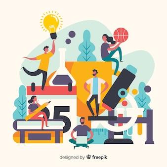 Arrangement du concept universitaire de personnes et d'objets