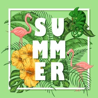 Arrangement d'été tropical avec flamants roses et caméléons