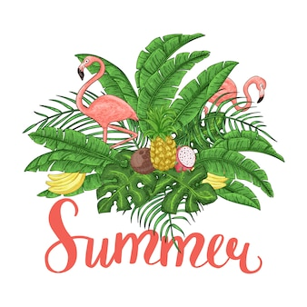 Arrangement d'été tropical avec flamants roses, feuilles de palmier et fleurs exotiques.