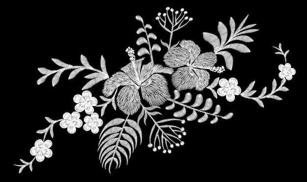 Arrangement de fleurs de broderie tropicale. fleur de plante exotique