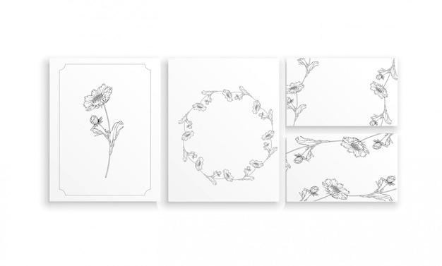Arrangement de fleurs de contour vector noir et blanc avec des fleurs de camomille