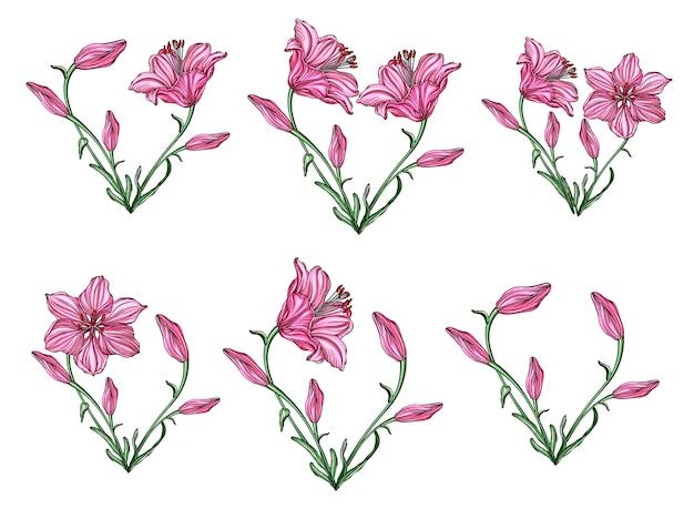 Arrangement de fleurs de forme de coeur avec des fleurs de lis