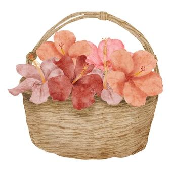 Arrangement de fleurs d'hibiscus tropical aquarelle peint à la main sur panier