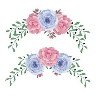 Arrangement de fleurs de pivoine rose peinte à la main aquarelle