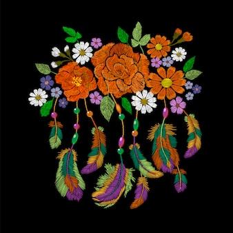 Arrangement de fleurs de plumes indiennes amérindiennes boho broderie
