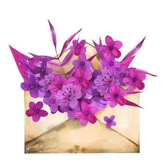 Arrangement de fleurs de printemps lettre enveloppe papier aquarelle dessiné à la main.