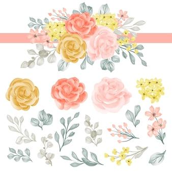 Arrangement de fleurs avec rose et feuilles clipart isolé