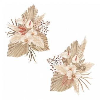 Arrangement de fleurs séchées avec herbe de pampa, lance de palmier, lis calla et orchidée