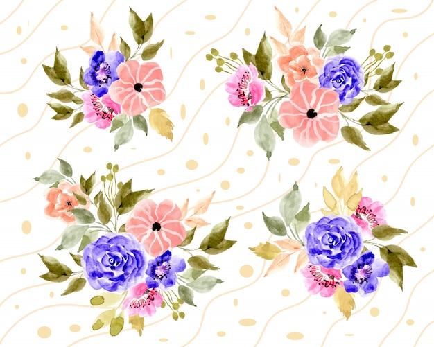 Arrangement floral aquarelle avec fond de ligne