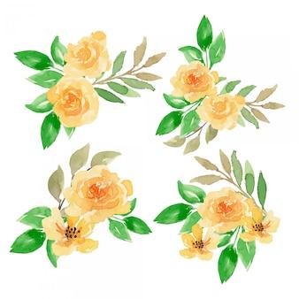 Arrangement floral aquarelle jaune
