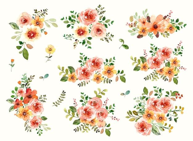 Arrangement floral à l'aquarelle de pivoines et de fleurs sauvages jaunes