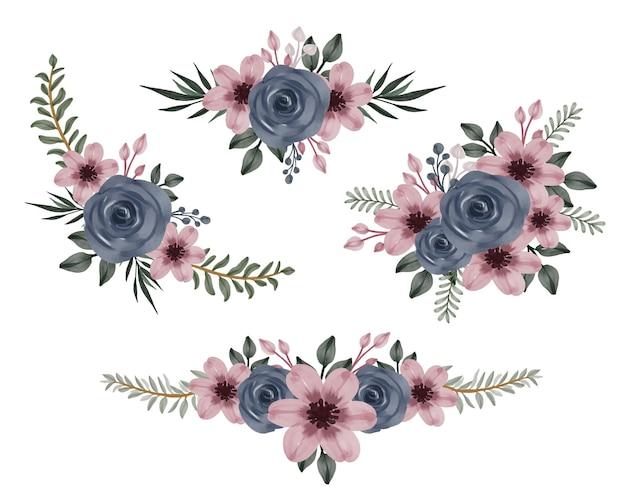 Arrangement floral aquarelle de roses marines et fleur rose