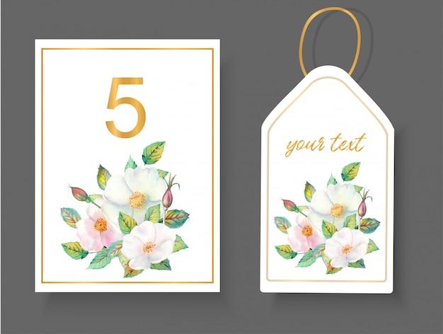 Arrangement floral de roses sauvages, de brindilles, de feuilles isolées pour le numéro de table