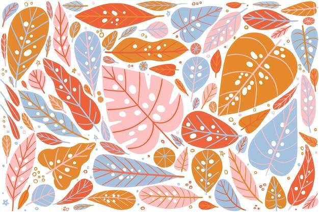 Arrangement de fond de feuilles colorées