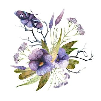 Arrangement d'halloween fleurs violettes et papillon avec des crânes composition florale d'automne