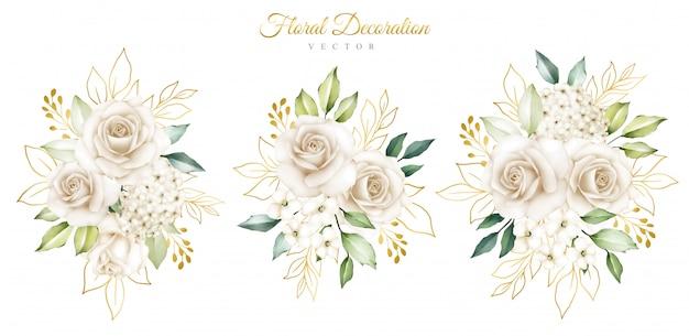 Arrangements élégants de fleurs à l'aquarelle