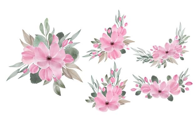Arrangements de fleurs aquarelle pour invitation de mariage et éléments de conception de carte de voeux