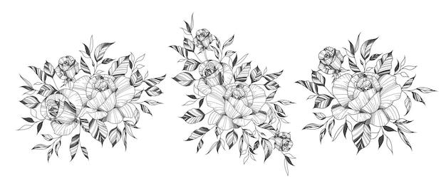 Arrangements de fleurs roses dessinés à la main dans le style de tatouage