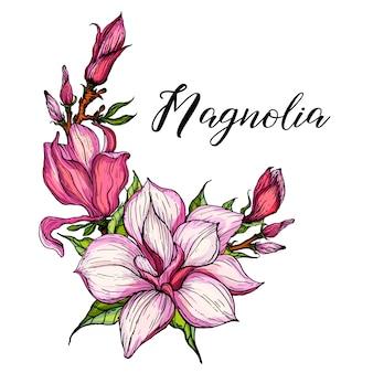 Arrangements floraux lumineux avec des fleurs de magnolia