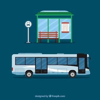 Arrêt de bus et de bus urbain avec un design plat