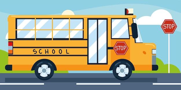 Arrêt de bus scolaire transport de la ville