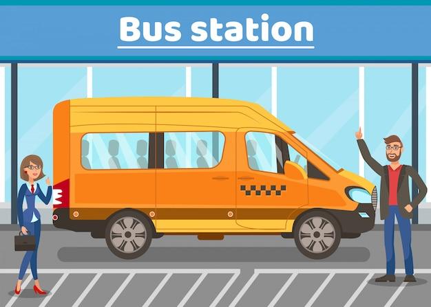 Arrêt de bus urbain web plat