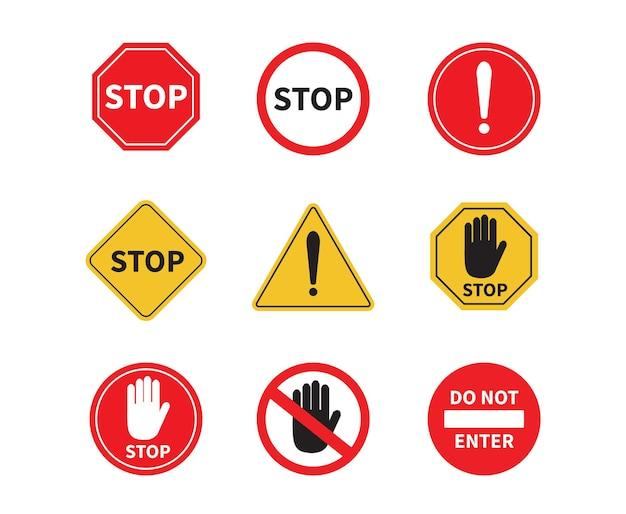 Arrêt de panneau de circulation sur fond blanc n'entrez pas dans le signe attention interdit attention