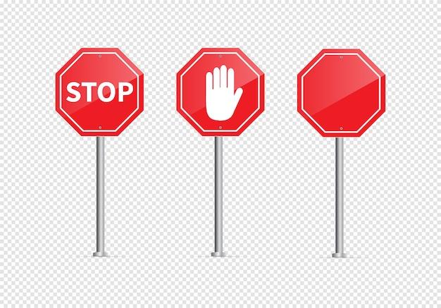 Arrêt de panneau de signalisation isolé sur fond transparent.