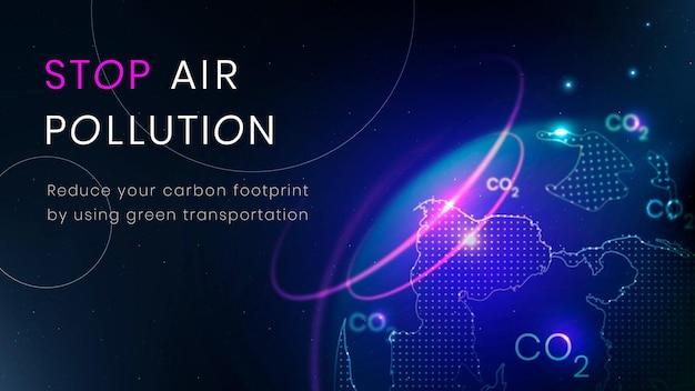Arrêter la bannière de technologie environnement vecteur modèle de pollution de l'air