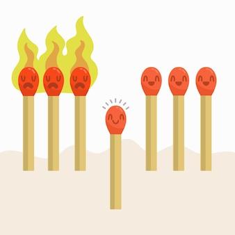 Arrêter le concept des allumettes enflammées du coronavirus