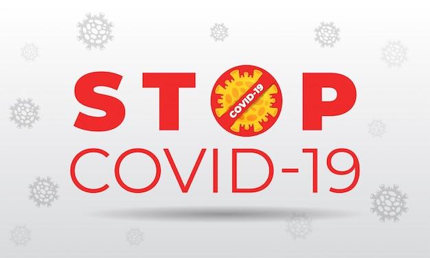 Arrêter covid-19 sur fond blanc