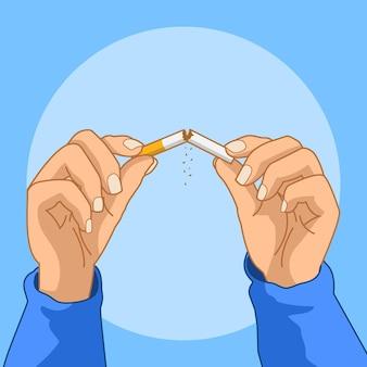Arrêter de fumer concept illustré