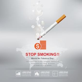 Arrêter de fumer concept journée mondiale sans tabac