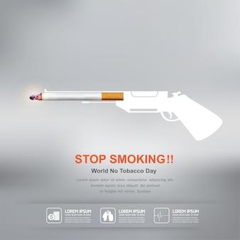 Arrêter de fumer concept pour la journée mondiale sans tabac de fond.