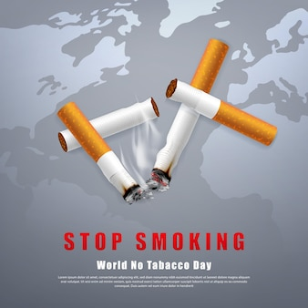Arrêter de fumer illustration de la campagne pas de cigarette pour la santé cigarettes cassées et cendres avec fond de carte du monde