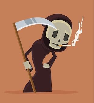 Arrêter de fumer illustration de dessin animé plat personnage mort de fumer